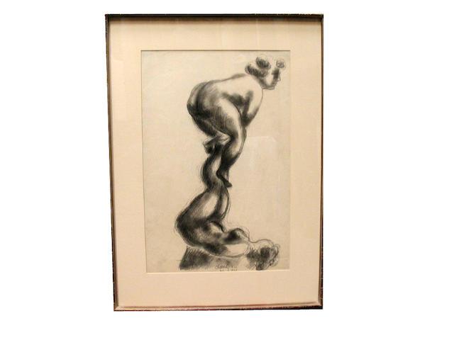 Chaim Gross (American, 1904-1991)<br>Two Women Acrobats, 1935 18 x 12in