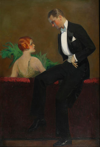 American School (circa 1920) A man and a woman in evening dress 35 x 23in (89 x 58.5cm)