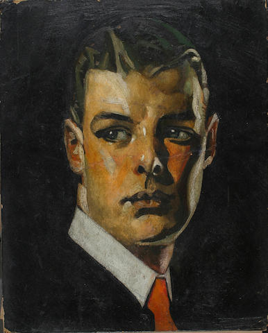 Style of Joseph Christian Leyendecker (American 1874 - 1951) Advertisement: A portait of a young man wearing a white collar and orange necktie 20 x 16in (50.8 x 40.5cm) (unframed)