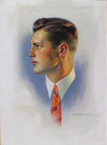 Robert C. Kauffmann (American b.1893) Advertisement: A portrait of a man wearing a red and orange necktie 25 x 18in (63.5 x 45.5cm)