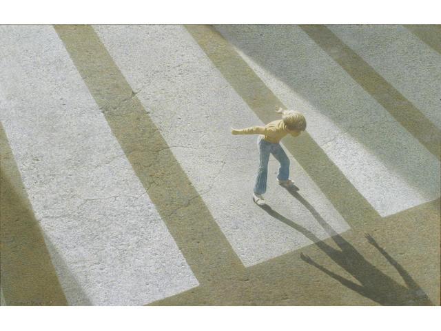 Robert Vickrey (American b.1926) 'Skater Coasting' 14 x 22in (35.5 x 56cm)