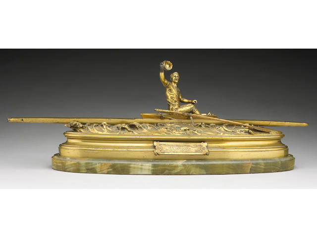 A French gilt bronze sporting group:  Le Vainqueur Cast after a model by Pierre Eugene Emile Hébert (1828-1893, France) Late 19th century Greatest height of bronze 8½in (21.5cm); greatest length 27½in (70cm); height of onyx plinth 1¼in (3cm)