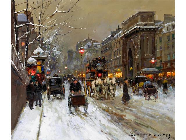 Edouard Léon Cortès (French 1882-1969) A view of the Porte St. Martin 18 x 21in (45.7 x 53.4cm)