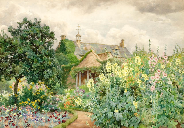 """Alfred Parsons RA (British 1847-1920) """"Tall hollyhocks"""" 15 x 21 1/4in (38.1 x 54cm)"""
