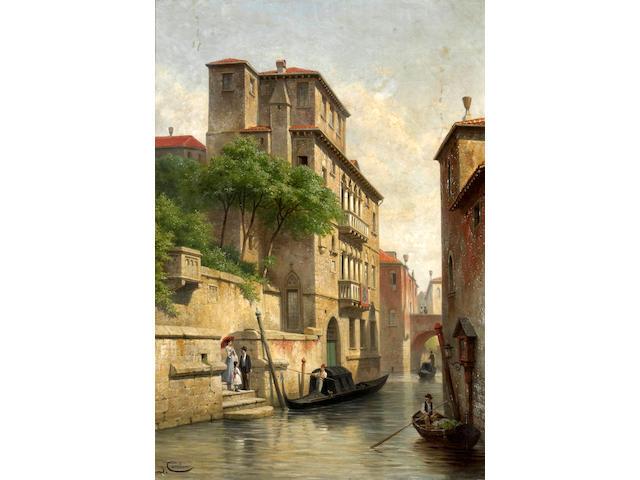 Jacques François Carabain (Belgian 1834-1889) A view of the Palazzo Soranzo-van Axel, Venice 30 x 21in (76.2 x 53.3cm)
