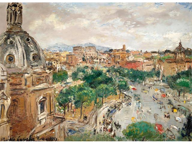 Michele Cascella (Italian 1892-1989) A view of Rome 28 1/4 x 39in (71.8 x 99cm)