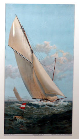 """American School (19th Century) The ship """"Defender"""" an America's Cup yacht 16 x 8 1/4in (40.5 x 21.75cm)"""