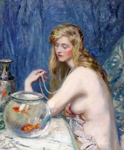 Albert Edward Sterner (American 1863-1946) A nude with a goldfish bowl 34 x 29in (25.5 x 21.75cm)