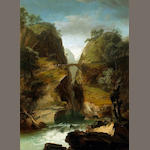 Attributed to Johann-Heinrich Wüst (Swiss 1741-1821) A gorge in a rocky landscape with a waterfall 30 1/2 x 22 1/2 in. (77.5 x 57 cm.)