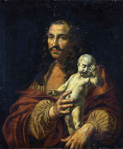 Dutch School A portrait of a Sculptor  paint loss especially upper half A portrait of a sculptor holding a statue of a small boy 26 1/2 x 22 1/2in (67.3 x 57.2cm)