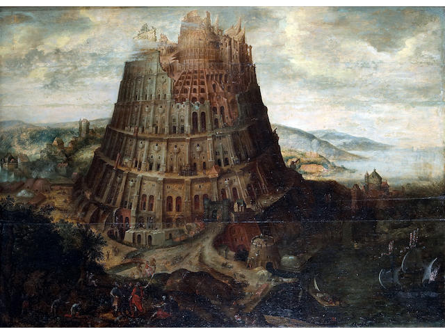 Follower of Martin van Valkenborch (Flemish 1533-1604) The Tower of Babel 33 x 45 3/4in (83.8 x 116.2cm)