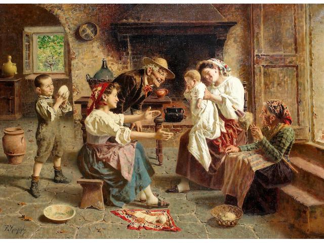 Eugenio Eduardo Zampighi (Italian 1859-1944) The happy family 29 x 41 3/4in (73.7 x 106cm)