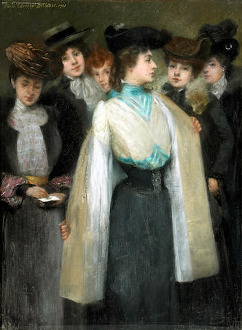 Pierre Carrier Belleuse (French 1851-1932) A study of six fashionable ladies 42 1/4 x 31 1/2 in. (107.3 x 80 cm.)
