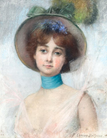 Pierre Carrier Belleuse (French 1851-1932), A Portrait of a Lady in a Spring Bonnet, signed and dated Portrait of a lady in a spring bonnet 28 3/4 x 21 1/2 in. (73 x 54.6 cm.)