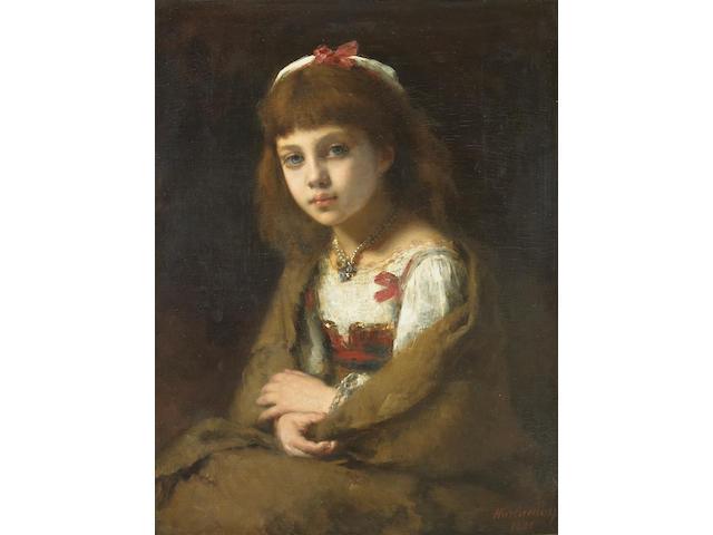 Alexej Alexejewitsch Harlamoff (Russian 1842-1915) A portrait of a young girl 25 3/4 x 20in (65.5 x 51cm)
