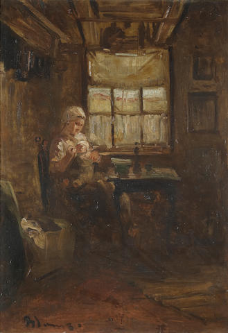 Attributed to Bernardus Johannes Blommers (Dutch 1845-1914) A mother and child in an interior 31 1/4 x 21 1/2 in. (79.4 x 54.6 cm.)