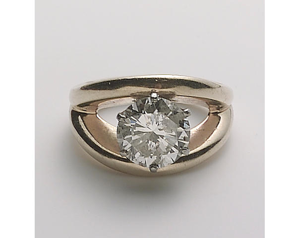 A diamond and 14k gold ring,