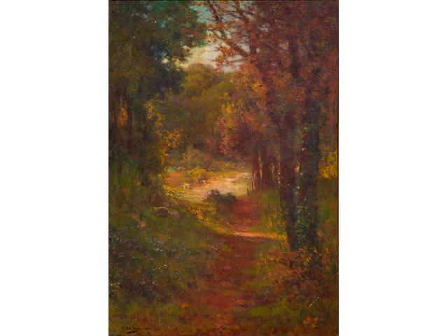 F. Maury (fl.1880-1920) A path through a forest 70 1/2 x 48 1/2in
