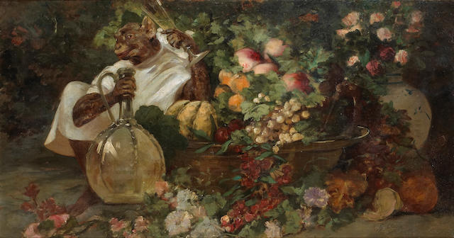 Georges Jules Victor Clairin (French 1843-1919) A still life with fruit and a monkey  26 1/4 x 49 1/2in (66.6 x 125.7cm)