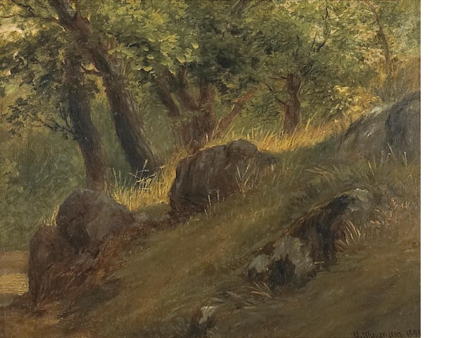 Attributed to Ivan Ivanovich Shishkin (Russian 1832-1898) A study of a forest clearing 8 x 10in (20 x 25.3cm)