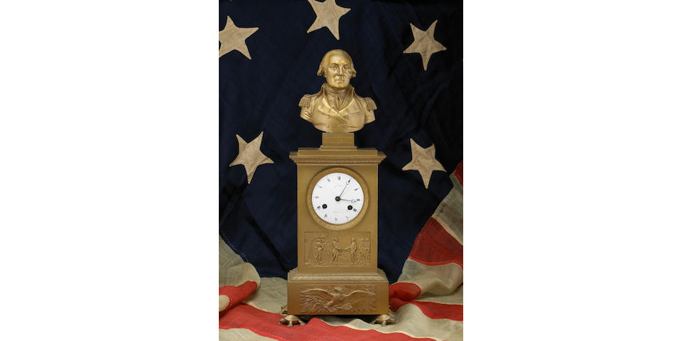 A French bronze shelf clock depicting George Washington, Early 19th century, for the American market