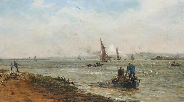 William Lionel Wyllie RA (British 1851-1931) A view of the Thames estuary  18 1/4 x 32 1/4in (46.4 x