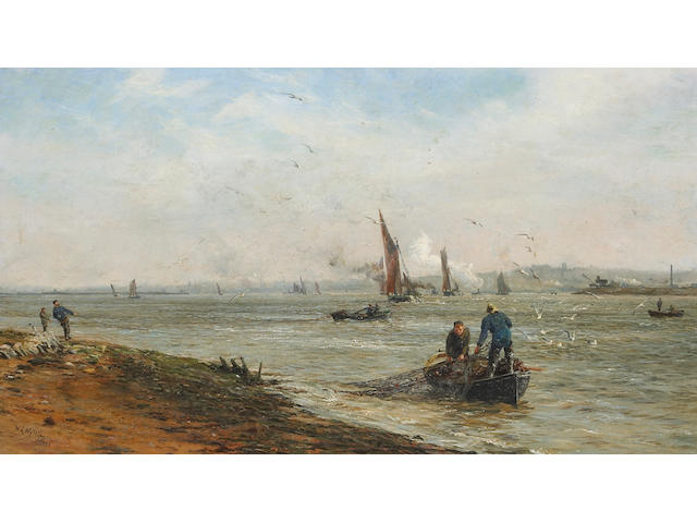 William Lionel Wyllie RA (British 1851-1931) A view of the Thames estuary 18 1/4 x 32 1/4in (46.4 x 79.4cm)