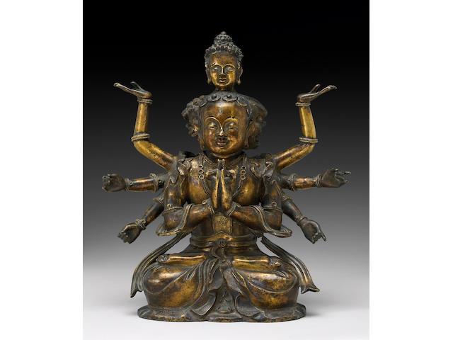 A Sino-Tibetan gilt bronze esoteric buddhist deity 17th/18th Century
