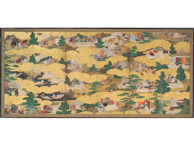 Tosa school: Tale of Genji, 17th century, pair of 6 panel screens