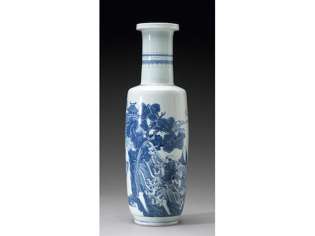 A large blue and white porcelain rouleau vase <i>Transitional to Kangxi Period</i>