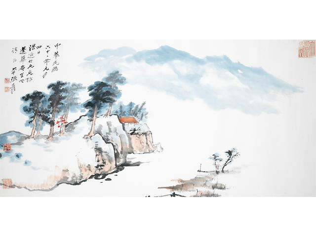 Zhang Daqian (chang Dai-chien, 1899-1983): A View at Huan bi An; a large framed and glazed painting