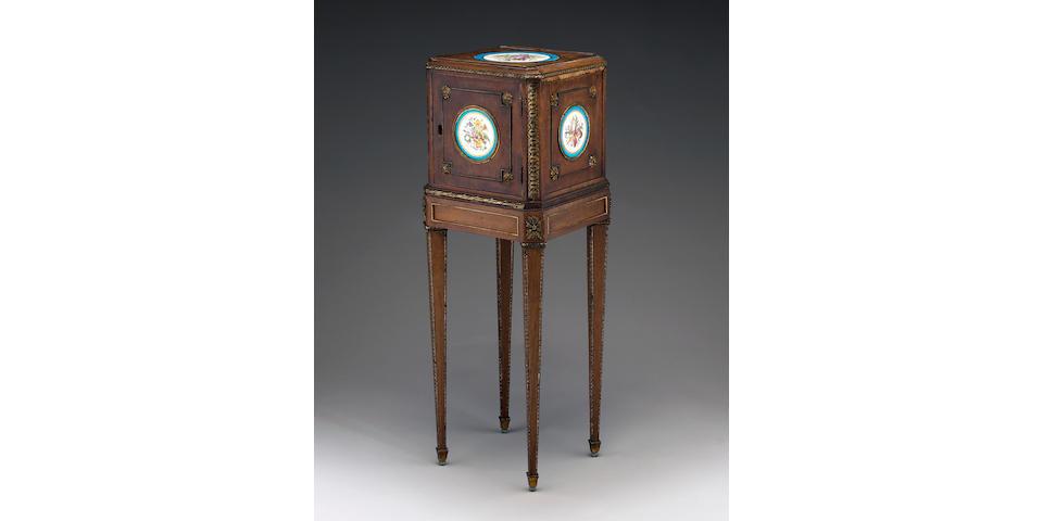 A rare Louis XVI gilt bronze and porcelain plaque mounted mahogany cabinet a bijoux