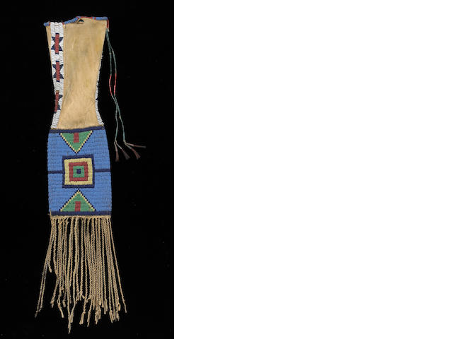 An Arapaho beaded tobacco bag