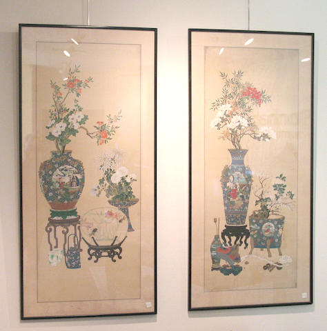 Anonymous (19th Century): Pair of Chinese Paintings of Precious Antiques