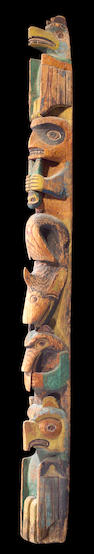 A large Northwest Coast totem pole, length 10ft 4in