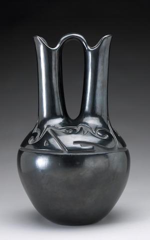 A Santa Clara carved blackware wedding jar Margaret Tafoya