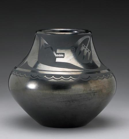 A San Ildefonso blackware jar: Maria & Popovi