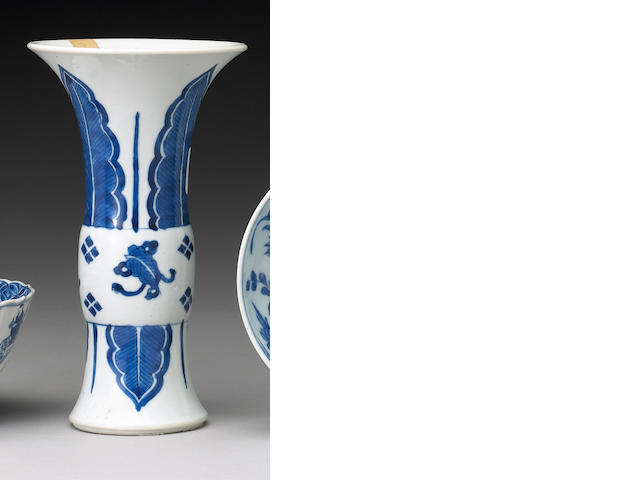A small blue and white porcelain beaker vase <i>Kangxi Period</i>