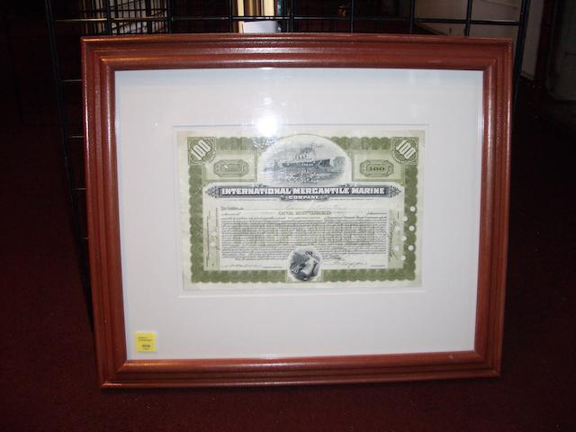 A Framed Share Certificate, The International Mercantile Marine Company 12 x 8in (30 x 20cm) framed