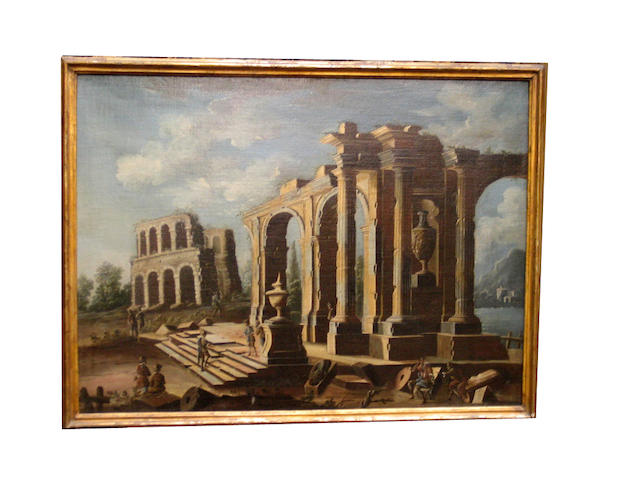 o/c. painting of ruins.