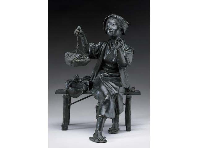 A bronze seated figure of a girl selling mushrooms <i>Meiji Period</i>