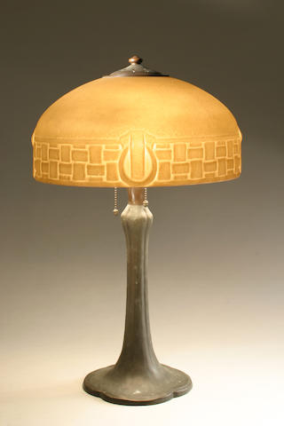 A Handel molded-glass and metal table lamp