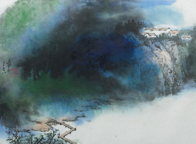 Zhang Dagian (Chang Dai-chien, 1899-1983): Blue and Green Splashed Landscape
