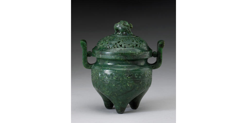 A spinach jade covered censer 19th Century