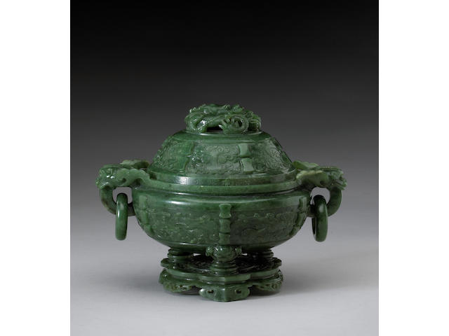 A fine spinach jade covered tripod censer on stand <i>19th Century</i>