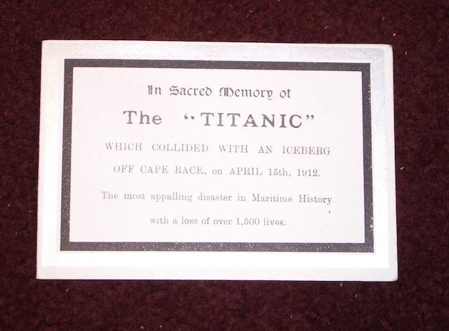 An Original RMS Titanic Memorial Card 4 1/2x 3in (11.5 x 8cm)