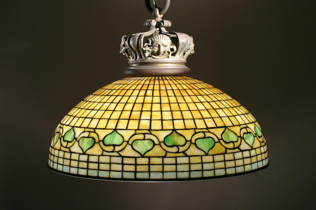 A Tiffany Studios Favrile glass and bronze Vine Leaf border chandelier