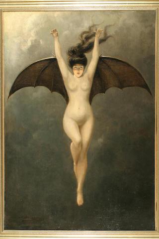 D. Bourrelly Bat Lady 36½in x 25½in (92.5cm x 64.5cm)