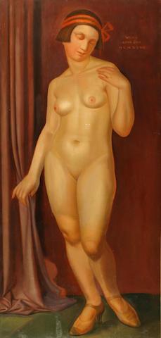Continental School (Circa 1920) An Art Deco nude 50 x 24in (127 x 61cm)