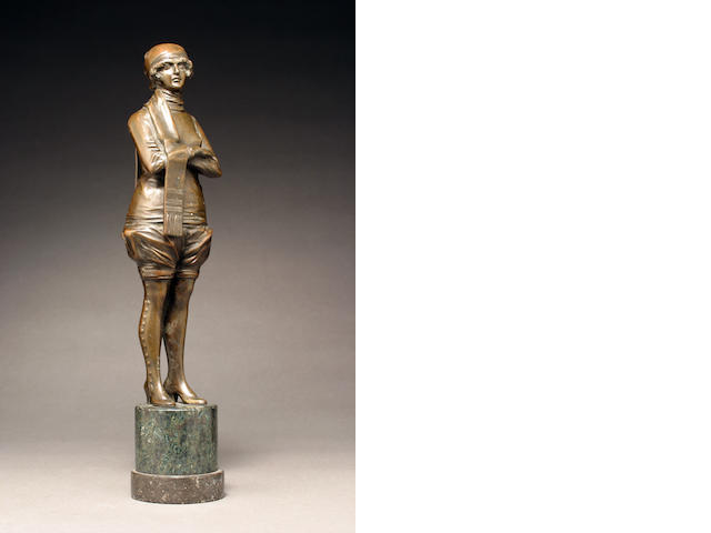 A patinated-bronze figure: Winter